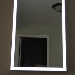 Lighted Image - LED Illuminated Mirror with Aluminum Frame - This Stylish LED Illuminated Mirror from Lighted Image is the must have addition to your home or office space. Featuring an Aluminum Frame and LED's around the edge, this stunning contemporary LED bathroom mirror will compliment any space.