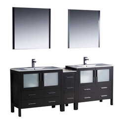 """Fresca - Fresca Torino 84"""" Modern Double Sink Bathroom Vanity w/ One Side Cabinet & Two I - Fresca is pleased to usher in a new age of customization with the introduction of its Torino line. The frosted glass panels of the doors balance out the sleek and modern lines of Torino, making it fit perfectly in either Town or Country dcor."""