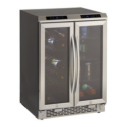 "Avanti - 2 door Wine cooler/Beverage center, Stainless steel - 24"" Wide French Door Wine Chiller/Beverage Cooler Design, Capacity: -Wine Chiller (Left Zone): Up to 19 Wine Bottles, -Beverage Cooler (Right Zone), Top Mounted Soft Touch Electronic Control & Display for Monitoring Temperature (�C/�F) for Each Zone, Glass Doors with Stainless Steel Frame and Handles, Slide Out Vinyl Coated Wire Shelves, Auto-Lock Controls Prevent Accidental Changes to Settings, Long Life & Cool LED Interior Lighting with ON/OFF Switch for Each Zone, Unit Dimensions 34x23.5x24.75"