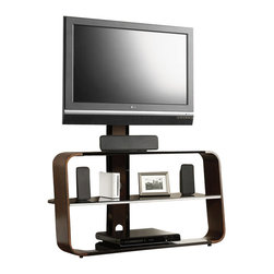Sauder - Sauder Panel TV Stand With Mount in Medium Wood Finish - Sauder - TV Stands - 413960 -