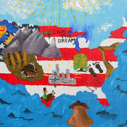 """America The Beautiful (Original) by Kayla Domaszek - Any true American would love this piece.  From sea to shining sea this painting represents the good and the bad of our great country while representing the red white and blue and the things that make our country ours.  Based off of the song """"America the Beautiful."""""""