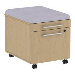 Bush - Bush 300 Series Mobile Pedestal in Natural Maple and Morning Dew - Bush - Commercial Grade Office - 300PM2BFACSDK - Put all of the benefits of mobile storage to work immediately. Easy portability keeps extra space at your fingertip and fits under all 300 Series desks. Comfortable cushion conceals storage beneath. Single box drawer holds office or personal supplies. File drawer accommodates letter- legal- or A4-size files. Full-extension ball bearing slides provide easy access to back of drawers. Rolling casters provide smooth mobility even when loaded. Box Drawer extends on 3/4-extension ball bearing slides for convenient access. Total configuration flexibility lets you outfit any-size office space. Tough rugged work surface resists scratching stains dings and dents looking good for years. Includes BBF Limited Lifetime warranty.Note: Due to state regulations this product cannot be shipped to the state of California.