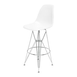 Kathy Kuo Home - Eiffel Reproduction White Plastic Chrome Frame Modern Bar Stool - Pair - Join the party with this pair of eye-catching chrome bar stools. Mixing modern with Industrial, this stylish set has highly polished white plastic seats, silver legs and steel support rods. Slim, yet sturdy, these Eiffel-inspired bar stools serve up casual comfort anytime of day.
