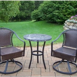 Oakland Living Stone Top Bistro Set - Countless al fresco dinners will be yours to enjoy when you have the Oakland Living Stone Top Bistro Set gracing your patio or porch. Not only are the chairs comfy and generously proportioned, they are durable and easy to maintain, thanks to all-weather wicker. Plus the swivel feature ensures you don't miss out on any of the conversations around you. The natural stone table top only adds to this set's upscale appeal. The sturdy steel frame under the wicker ensures the set lasts season after season, while the hardened powder-coat black finish offers lasting beauty.Dimensions:Dining table: 24 diam. x 27H inchesSwivel dining chair: 22L x 24W x 34H inches