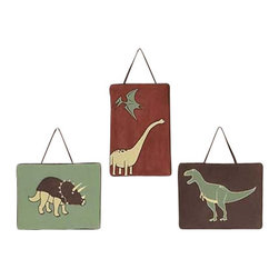 """Sweet Jojo Designs - Dinosaur Land Wall Decor (3 Pc.) - The Dinosaur Wall Decor by Jojo Design includes 3 wall hangings that will add a designers touch to any childs room! These childrens wall hangings are handcrafted with care and will brighten any childs room or nursery. Each wall hanging measures 10"""" x 10""""."""