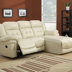 """Monarch - Sand Bonded Leather/Match Reclining Sofa Lounger - Join style and comfort together. This sofa chaise is the perfect seating solution for large living room areas. Plush full foam seating, a sturdy solid wood frame and motion reclining, this sofa chaise has plenty of space as well as comfortable armrests. Buttonless tufting backs with curved seat fronts provide a timeless touch of elegance. Wrapped in a top grain bonded leather match in a beautiful rich sand. Pair this stylish sectional with a modern coffee table.; Material: Pine Wood, Plywood; Dimensions: 90""""L x 68""""W x 41""""H; Seat depth: 20""""; Seat height from floor: 20"""""""