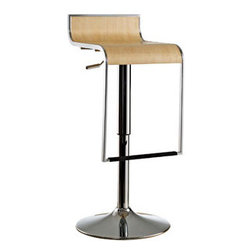 """LexMod - LEM Wood Bar Stool in Natural - LEM Wood Bar Stool in Natural - The LEM Bar Stool has sleek lines and would be equally impressive in a restaurant or at home. It features a sturdy chrome steel frame with hydraulic piston and lever for height adjustment from 27"""" - 31"""". Perfect for entertaining guests at your own bar at home, or for stylish seating around the counter. Set Includes: One - LEM Bar Stool with Wood Seat Chrome Plated Frame, Adjustable Height from 27"""" - 31"""", 360 Degree Swivel Overall Product Dimensions: 18""""L x 15""""W x 27 - 31""""H - Mid Century Modern Furniture."""