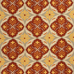 Jaipur Rugs - Tribal  Pattern Polypropylene Red/Yellow Indoor-Outdoor Area Rug ( 5x7.6 ) - Inspired by the rich history and range of design movements that have defined the architecture of Spain's cultural center, the Barcelona Collection brings a transitional flair to any indoor or outdoor space. Whether the style leans towards fun, boldly-scaled flourishes or understated simplicity, this broad range offers something for every taste. Artfully developed in hand-hooked polypropylene, Barcelona pairs the durability necessary to withstand the elements with the colorful spirit of the Catalonian countryside.
