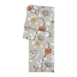 Gray Sketched Floral Custom Table Runner - Get ready to dine in style with your new Simple Table Runner. With clean rolled edges and hundreds of fabrics to choose from, it's the perfect centerpiece to the well set table. We love it in this contemporary sketched floral in light gray with pops of yellow and red.  So gorgeous it will be modern today, a classic tomorrow.