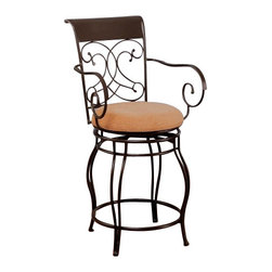 """Coaster - 24""""H Bar Stool (Dark Brown) By Coaster - Accentuate your casual dining area with the simple elegance of this 24 inch bar stool. The dark brown metal frame offers a uniquely designed seat back, curvaceous arms, and flowing legs. The neutral upholstered seat brings calming character to the silhouette, providing comfort. This piece is also available in a 29 inch stool to accommodate your needs. Whether you arrange with a gathering height dining table or use as additional seating for guests, this counter height stool will make a wonderful addition to your home. Features: Curvaceous Metal Arms Flowing Metal Legs Neutral Upholstered Cushioned Seat Metal Seat Back Offers a Sleigh Design and Decorative Curves. Specifications: Overall dimensions: 40H x 21W x 21D inches Seat height: 24 inches Weight: 28.6 lbs."""