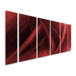Pure Art - Power of Red Hand-Painted Metal Wall Art Set of 6 - Create a fury of style on your modern wall by hanging this metal wall art! Sweeping lines flow evenly into one another to create a true masterpiece for the imagination! This Power of Red Hand-Painted Metal Wall Art Set of 6 features a visual maze that will intrigue the imagination of everyone that looks upon its intricate design. Deep visual stimulation will be sure to entice individuals to your focal wall in a family room. Each panel is handmade and hand painted by master craftsmen utilizing only the finest materials available. These metal wall hangings are a perfect selection to enhance the contemporary or modern decor of your homeMade with top grade aluminum material and handcrafted with the use of special colors, it is a very appealing piece that sticks out with its genuine glow. Easy to hang and clean.