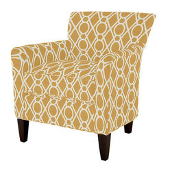Joselin Chair, Camargo Lattice - This chair can be customized in any of Ballard Designs' fabrics, but I'm partial to this rich caramel gold. The color is great for warming up your space, and the pattern keeps things light and fun.