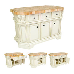 """Hardware Resources - Lyn Design Kitchen Island - Kitchen Island by Lyn Design. Featuring soft-close undermount slides on drawers, soft-close European hinges, fully adjustable shelves, wine rack, and acanthus corbels. DIMENSIONS: 57-1/2"""" x 33-3/4"""" x 34-1/8"""" FINISH: AWH Antique White with 1099DBAC hardware. Top sold separately (ISL06-TOP)"""