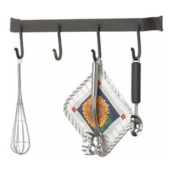 Renovators Supply - Pot Racks Wrought Iron Pot Rack 24 7/8'' 4 Stationary Hooks | 21189 - Use Shaker-style hassle-free storage racks & conveniently grab what you need without fussing in cabinets & drawers. Display gourmet crockery on one or more bars. Four heavy-duty stationary scroll tip hooks make cooking convenient. Mounts to the wall easily- hardware included. Note: Dimensions may vary up to 1/2 in. due to being hand forged. Designed and made with pride in the U.S.A. by skilled craftsmen. Measures 1 3/4 in. H x 24 7/8 in. W x 4 in. proj.