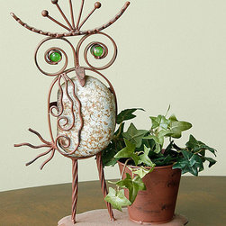 Marshall Home and Garden - Small Rock Owl Planter - Made from durable iron and rock, this creature provides your outdoor scene a whimsical touch as it holds a plant.   Plant not included 13'' H Iron / rock Imported
