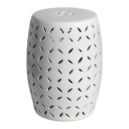 Belle & June - White Coin Carving Garden Stool - Drum up some excitement in your garden. This prettily patterned stool, which also functions as a plant stand, brings a handmade touch to your favorite outdoor space.