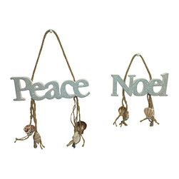 Fancy That Gift & Décor - Noel & Peace Mini Wall Sign Set - Liven up your home for the holidays with this hanging sign set that brings good cheer and a welcoming accent to the entryway.   Includes two signs 7'' W x 9'' H x 0.5'' D Medium-density fiberboard Imported