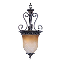 Maxim Lighting - Maxim Lighting Portofino Bowl Pendant Light in Oil Rubbed Bronze - Shown in picture: The focal point of this lovely family is the ornately detailed rim finished in our Oil Rubbed Bronze finish that supports the Vintage Amber glass.
