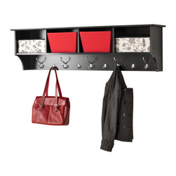 "Prepac Furniture - Prepac Black 60"" Wide Hanging Entryway Shelf - Perfect for an ever-expanding household, the Prepac Black 60"" Wide Hanging Entryway Shelf allows you to keep your entryway belongings in one place! Suitable for any hallway, foyer or entries, the four compartments offers ample storage space to fill them with baskets, gloves, hats and books. Five large and four small hooks provide place to hang coats, jackets, sweaters, bags and purses. It installs easily with our innovative hanging rail system."