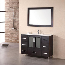 Design Element - Design Element Stanton 48-inch Espresso Wood Bathroom Vanity - Modern and elegance this espresso vanity features clean lines and a drop-in porcelain sink. The nickel-finished hardware and included mirror complete this bathroom vanity.