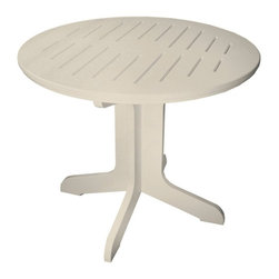 Poly Concepts - Poly Concepts Outdoor 36 in. Round Pedestal Table - JPT36R-W - Shop for Tables from Hayneedle.com! You may as well put your style up on a pedestal for all to see when you feature the Poly Concepts Outdoor 36 in. Round Pedestal Table in your outdoor environment. The casual beauty of this convenient table gives you the perfect place for outdoor suppers or poolside cocktails. The thick pierced-top design and convenient pedestal base make it the perfect gathering place while heavy duty titanium resin construction provides substantial weight and lasting beauty. Unlike other materials titanium resin doesn't retain a ton of heat in direct sunlight. UV- mildew- and stain-resistant this table was made especially for outdoor spaces. Available in your choice of colors. Rust-free stainless steel hardware endures the elements. Some assembly required. Made in the USA.About Poly ConceptsPoly Concepts LLC aims to unite comfort style and durability in environmentally-friendly ways that feature quality and virtually no maintenance. The diverse collection features an outstanding line of premium quality outdoor furniture used across many applications. Healthcare hospitality residential and recreational industries enjoy the performance and satisfaction these pieces provide. Manufactured from Andure these pieces won't experience the same weathering problems as other outdoor pieces. The titanium alloy/resin has substantial weight and won't peel chip fade crack yellow or require painting for a lifetime of worry-free maintenance.