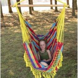 "Vivere Hammocks Paradise Brazilian Style Hammock Chair - Babies always look so comfortable in their swings, and the Vivere Hammocks Paradise Brazilian Style Hammock Chair is the grown-up equivalent of that soothing sway. This easy-access design makes getting in and out a breeze, and the vibrant fabric provides a fun accessory for your covered patio or teenager's room. You may want to get more than one, as the whole family will be clamoring for this seat.About Vivere The Spanish verb ""Vivir"" means ""to live"", and there's no living like hammock living. Vivere was born when company founder Jason Stoter was studying abroad in Mexico. He came upon an entrepreneur selling hammocks, struck a deal, and purchased his first hammock. After his studies, Jason sourced hammocks from villages in the Yucatan peninsula where hammock weaving has been a craft for generations. Hammock Village was begun. As the company grew, inspiring changes were made and Hammock Village became Vivere Ltd. They go beyond hammocks and have introduced vibrant new colors and modern design. The goal of Vivere is to promote relaxation and a healthy lifestyle. They're passionate about outdoor living and want everyone to experience a getaway in their own backyard."