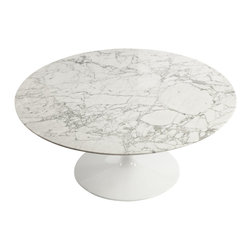 Stilnovo Saarinen Inspired Round Marble Tulip Coffee Table - The Marble Tulip Coffee table has a large, round top made from a Carrara marble. This is supported by a flared, white-coated pedestal base. The marble requires sealing.