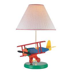 Joshua Marshal - Multi Color Children Kids Airplane Bi-Plane Table Lamp - Finish: Multi Color