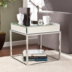 Upton Home - Upton Home Adelie Mirrored End Table - This Upton Home mirrored end/ side table adds contemporary glam to any room. The mirrored tabletop and sleek chrome-plated legs form a unique,eye-catching piece that will brighten your home and complement any decor.