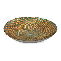 iMax - Istanbul Glass Bowl - In shades of teal and gold, this brilliant glass bowl bears the pattern of the illustrous peacock feather. Food safe.