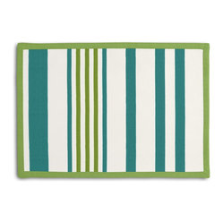 Teal, Green & White Stripe Tailored Placemat Set - Class up your table's act with a set of Tailored Placemats finished with a contemporary contrast border. So pretty you'll want to leave them out well beyond dinner time! We love it in this white, teal & green outdoor stripe that's just hankering for those wide open spaces.