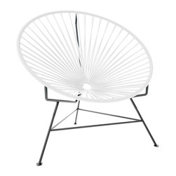Innit Chair, White Weave On Black Frame - This iconic chair is perfect for outdoor living, as the woven vinyl is weather poof and easy to clean. But add it to a living room scheme, and it brings the perfect pop of personality. You can order from a rainbow of colors to contrast the black base or stick with the classic all-black design for a monochromatic look.