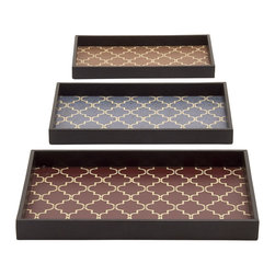 Unique And Classy Wood Vinyl Trays, Set of 3 - Description: