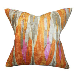 "The Pillow Collection - Ulyanka Geometric Pillow Orange - This eccentric accent pillow will definitely lend a pop of bold color to your interiors. This square pillow features a smoldering orange, bright pink and soft gray hues in a unique geometric pattern. This 18"" pillow will make a great addition to your living space. Toss it anywhere inside your home for pizzazz and comfort. Made of 100% soft polyester fabric. Hidden zipper closure for easy cover removal.  Knife edge finish on all four sides.  Reversible pillow with the same fabric on the back side.  Spot cleaning suggested."