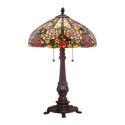 Quoizel - Quoizel TF1488TRS Bowman Tiffany Table Lamp - Elegant Tiffany style is a timeless staple of home decor.  The various designs are handassembled using the copper foil technique developed by Louis Comfort Tiffany.  With an enormous variety of colors and patterns to choose from, Quoizel Tiffany�۪s have become more popular than ever.
