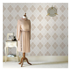 Graham & Brown - Argyle Wallpaper - A stunning argyle tartan wallpaper design which is textured in order to add even more depth and warmth to your room, this sand design is very easy to live with and the diamond geometric design will add real interest to any home.