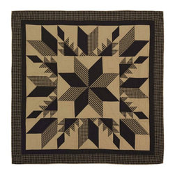VHC Brands / Ashton & Willow - Dakota Quilt, King - The Dakota Star collection is a black and khaki story. It features a traditional 8 point star in the center, surrounded by a feathered star quilted pattern. The back of the quilt is solid khaki. It has 100% cotton shell and is hand quilted with stitch in the ditch and echo quilting.