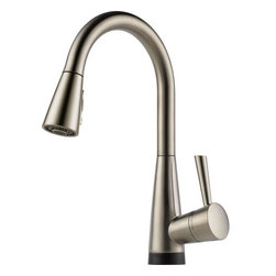 Brizo Venuto Single Handle Pull-down Kitchen Faucet With Smarttouch® Technology - STRONG. CALM. SOPHISTICATED. | a welcome change | Sleek Euro pull-down design paired with cutting edge technology. Two function pull-down, Holes for installation: Single hole installation, Flow rate: 1.8 gpm @ 60 psi, 6.8 L/min @414 kPa | Available at www.shopstudio41.com