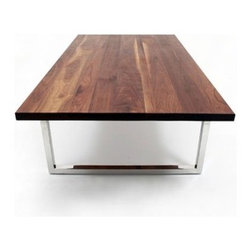 """ARTLESS - GAX Dining Table - Features: -Solid walnut top.-Hand polished stainless steel base.-Made in USA.-GAX collection.-Collection: GAX.-Top Finish: Walnut.-Base Finish: Polished Stainless Steel.-Hardware Finish: Polished Stainless Steel.-Distressed: No.-Powder Coated Finish: No.-Gloss Finish: No.-Top Material: Solid Walnut Boards.-Base Material: Stainless Steel.-Solid Wood Construction: Yes.-Reclaimed Wood: No.-Number of Items Included: 1.-Non-Toxic: Yes.-UV Resistant: No.-Heat Resistant: Yes.-Scratch Resistant: No.-Rust Resistant: Yes.-Glass Component: No.-Leaf Included: No.-Seating Capacity (Size: 30"""" H x 96"""" W x 48"""" D): 10.-Seating Capacity (Size: 30"""" H x 96"""" W x 36"""" D): 8.-Seating Capacity (Size: 30"""" H x 84"""" W x 48"""" D): 8.-Seating Capacity (Size: 30"""" H x 84"""" W x 36"""" D): 6.-Seating Capacity (Size: 30"""" H x 72"""" W x 48"""" D): 8.-Seating Capacity (Size: 30"""" H x 72"""" W x 36"""" D): 6.-Seating Capacity (Size: 30"""" H x 120"""" W x 48"""" D): 12.-Seating Capacity (Size: 30"""" H x 120"""" W x 36"""" D): 10.-Seating Capacity (Size: 30"""" H x 108"""" W x 48"""" D): 10.-Seating Capacity (Size: 30"""" H x 108"""" W x 36"""" D): 8.-Wine Storage: No.-Shelving Included: No.-Drawers Included: No.-Stemware Holder: No.-Table Base Type: Leg.-Outdoor Use: No.-Weight Capacity: 1000 lbs.-Swatch Available: No.-Commercial Use: Yes.-Recycled Content: No.-Eco-Friendly: Yes.-Product Care: Wipe clean with dry cloth.-Country of Manufacture: United States.Specifications: -FSC Certified: No.-ISTA 3A Certified: No.-General Conformity Certified: No.-Green Guard Certified: No.-ISO 9000 Certified: No.-ISO 14000 Certified: No.Dimensions: -Overall Height - Top to Bottom (Size: 30"""" H x 96"""" W x 48"""" D): 30"""".-Overall Height - Top to Bottom (Size: 30"""" H x 96"""" W x 36"""" D): 30"""".-Overall Height - Top to Bottom (Size: 30"""" H x 84"""" W x 48"""" D): 30"""".-Overall Height - Top to Bottom (Size: 30"""" H x 84"""" W x 36"""" D): 30"""".-Overall Height - Top to Bottom (Size: 30"""" H x 72"""" W x 48"""" D): 30"""".-Overall Height - Top to Bottom (Size: 30"""" H x 72"""" W x 36"""" D): 30""""."""