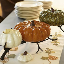 """Gourd Stoneware Dipping Bowl, Small, White - Serve fall's favorite comfort foods in our lidded gourd-shaped serving bowls. Each variety of stoneware squash is finished with a rich glaze. Small White Bowl: 6"""" wide x 6.5"""" deep x 6.5"""" high; 43 fluid ounces (approximately 1.25 quarts) Medium Green Bowl: 9.5"""" diameter, 5.75"""" high; 108 fluid ounces (approximately 3.5 quarts) Large Orange Bowl: 12"""" wide x 11.5"""" deep x 5.5"""" high; 130 fluid ounces (approximately 1 gallon) Made of stoneware with a glazed finish. Microwave- and dishwasher-safe."""