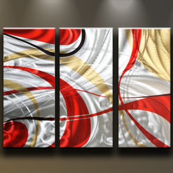 Matthew's Art Gallery - Metal Wall Art Abstract Modern Sculpture Red Silver Myst - Name: Red Silver Myst