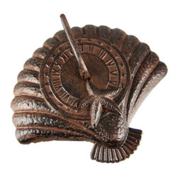 Rustic Distressed Finish Scallop Shell Sundial Sun Dial - This beautiful, rustic scallop shell sundial will add a distinct look of class to your garden, patio or pool area. Made of cast iron, this gorgeous sundial has Roman Numerals around the inner ring to help give you the time. Measuring 3 1/2 inches tall, 10 1/2 inches long and 11 1/2 inches wide, the sundial has a sprayed brown, rust-like finish. It will look beautiful in your garden for years to come, and won`t need to be repainted. It can be used with a pedestal (not included), on table, even on the ground!