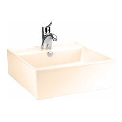 Renovators Supply - Vessel Sinks Bone Square Bostonian Vessel Sink | 14245 - Square Sinks Bathroom, Vessel Sinks Above Counter: Made of Grade A vitreous China these sinks easily endure daily wear and tear. Our protective RENO-GLOSS finish resists common household stains and makes it an EASY CLEAN wipe-off surface. Ergonomic and elegant easy reach design reduces daily strain placed on your body. SPACE-SAVING design maximizes limited bathroom space. Easy, above counter installation let's you select from many countertop designs, sold separately. Sold individually. Measures 18 1/4 inch W x 18 1/4 inch projection