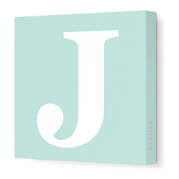 "Avalisa - Letter - Upper Case 'J' Stretched Wall Art, 12"" x 12"", Sea Green - Spell it out loud. These uppercase letters on stretched canvas would look wonderful in a nursery touting your little one's name, but don't stop there; they could work most anywhere in the home you'd like to add some playful text to the walls. Mix and match colors for a truly fun feel or stick to one color for a more uniform look."