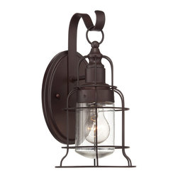 Savoy House - Savoy House 5-8070-1-13 Scout Small Wall Lantern - The collection of Scout outdoor wall lanterns from Savoy House are a stylish combination of vintage-inspired cage structures, an English Bronze finish and clear seeded glass.