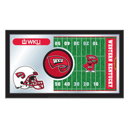 "Holland Bar Stool - Holland Bar Stool Western Kentucky Football Mirror - Western Kentucky Football Mirror belongs to College Collection by Holland Bar Stool The perfect way to show your school pride, our Football Mirror displays your school's symbols with a style that fits any setting.  With it's simple but elegant design, colors burst through the 1/8"" thick glass and are highlighted by the mirrored accents.  Framed with a black, 1 1/4 wrapped wood frame with saw tooth hangers, this 15""(H) x 26""(W) mirror is ideal for your office, garage, or any room of the house.  Whether purchasing as a gift for a recent grad, sports superfan, or for yourself, you can take satisfaction knowing you're buying a mirror that is proudly Made in the USA by Holland Bar Stool Company, Holland, MI.   Mirror (1)"