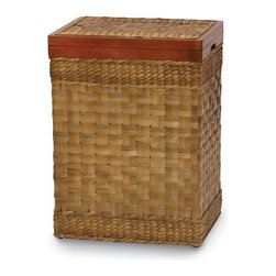 Palecek - Sea Grass Rectangular Hamper - Wide seagrass strips woven in basket weave. Plantation grown hardwood top opens but does not lift off.