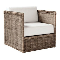 Serena & Lily - Venice Chair - The shape is timeless, white cushioning adds elegance. Woven of kobu rattan, this chair has an amazing texture that looks great against any backdrop. Pull up the ottoman and you may find yourself staying longer than you'd intended.  View dimensions