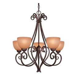 Minka-Lavery - Caspian Chandelier by Minka-Lavery - The Minka Lavery Caspian Chandelier exemplifies a luxurious pattern with its stylishly curvaceous frame and dazzling radiance. The Caspian Chandelier features Caspian glass shades and Golden Bronze finish.Minka-Lavery, recognized as a leader in modern elegance, offers decorative lighting with high quality craftsmanship in a variety of materials, including solid brass, wrought iron and cast aluminum. Located in Corona, CA, the Minka Group is branched into three providers that offer creative designs as well as timeless classics: Minka-Lavery lighting, Minka Aire fans and George Kovacs lighting.The Minka Lavery Caspian Chandelier is available with the following:Included Features:Five Caspian glass shades.Golden Bronze finish.Ceiling canopy.72 in. of chain.UL Listed.Lighting: Five 100 Watt 120 Volt Medium Base Incandescent lamps (not included).Shipping:This item usually ships in 48 hours.