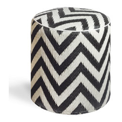 Fab Habitat - Laguna - Black & White Pouf - Chic chevrons are showcased in this sophisticated, ecofriendly pouf. This handmade two-toned round ottoman was crafted from recycled materials and will look so mod in your living room or as the stool to your vanity area.